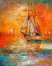 Ship in ocean original oil painting of sail and sea on canvas golden sunset over modern impressionism Royalty Free Stock Photography