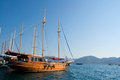 The ship at pier passenger tourist costs of embankment of resort town of marmaris in turkey Stock Photos