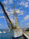 The ship on pier tivat old is moored to in city of montenegro Royalty Free Stock Images