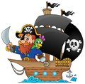 Ship with pirate eps vector illustration Stock Photography