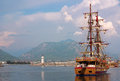 Ship in the port of alanya turkey summer day Stock Image