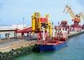 Ship in the port of Calais Stock Photo