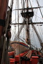 Ship rigging, life boat and masts Royalty Free Stock Photo