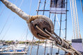Ship rope pulley on galleon in st augustine florida usa Stock Image
