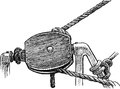 Ship rope vector drawing of the fragment of rigging sailing Royalty Free Stock Photography
