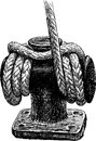 Ship rope vector drawing of the fragment of rigging sailing Royalty Free Stock Images