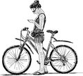 Ship rope vector drawing of the stopped young girl with a bicycle Royalty Free Stock Photo