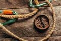Ship ropes and compass Royalty Free Stock Photo