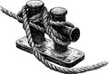 Ship ropes vector drawing of the fragment of rigging sailing Stock Photo