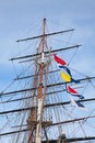 Ship s masts upwards view of the old Royalty Free Stock Photo
