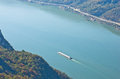 Ship sail on danube river through djerdap gorge east serbia Stock Photography