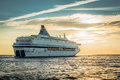 The ship sailing away from Latvia to Sweden in the evening Royalty Free Stock Photo