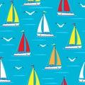 Ship sailing boat sea seamless pattern vessel travel vector sailboats marine background.