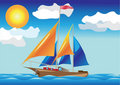 Ship with sails at the sea side Royalty Free Stock Photo