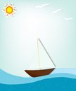 Ship at sea creative vector applique Royalty Free Stock Photo