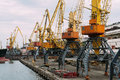 Ship in seaport bigger gantry cranes ukraine Royalty Free Stock Photos