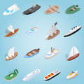 Ship set icons, isometric 3d style