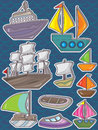 Ship Set Sticker Wave Background Stock Photography