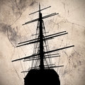 Ship silhouette on a textured background Stock Photo
