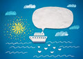 Ship and speech bubble of plasticine or clay on sea background Royalty Free Stock Photo