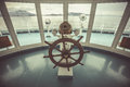 Ship steer in control room Royalty Free Stock Photo