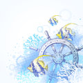 Ship steering wheel, corals and tropical fishes Royalty Free Stock Photography