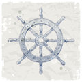 Ship steering wheel on grunge paper background Stock Image