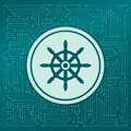 Ship steering wheel icon on a green background, with arrows in different directions. It appears on the electronic board. Royalty Free Stock Photo