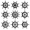 Ship steering wheel set. Vector Royalty Free Stock Photo