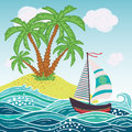 Ship, sun, tropical sea island with palm trees and flowers. Vector illustration.