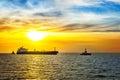 Ship and sunrise