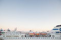 Ship tirrenia on august genoa italy port of genoa docked the port of genoa is the largest industrial and commercial Royalty Free Stock Image