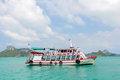 A ship tour tranfer man to at angthong national marine park close koh samui thailand Royalty Free Stock Images