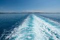 Ship trace on the sea surface Royalty Free Stock Photo