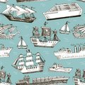 Ship vector boat vessel sailboat cruise liner or passenger steamship and powerful speedboat or motorboat submarine and