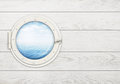 Ship window or porthole on white wooden wall with Stock Image