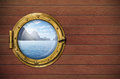 Ship window with sea or ocean with tropical island travel and andventure concept Stock Photo