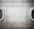Ship window or submarine aboard steam punk metal background Royalty Free Stock Photos