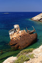 Ship wreck of amorgos a rotting rusting off the greek island eastermost island the cyclades Stock Image