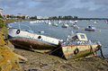 Ship wrecks in the port of Saint-Gilles-Croix-de-Vie Royalty Free Stock Photos