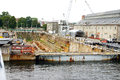 Ship yard dry dock a located at the charlestown navy in boston s national historical park located in boston harbor Stock Image