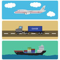 Shipment and cargo infographics elements air ship truck transportation Royalty Free Stock Images