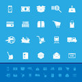 Shipment color icons on blue background stock vector Stock Photography