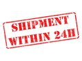 Shipment within h on red rubber stamp isolated white Royalty Free Stock Images