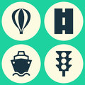 Shipment Icons Set. Collection Of Stoplight, Airship, Tanker And Other Elements. Also Includes Symbols Such As Ship