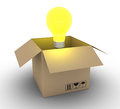 Shipment of an idea d light bulb coming out a carton box Stock Image