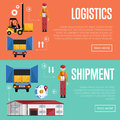 Shipment and logistic banners raster illustration.