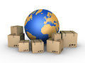 Shipment of parcels all over the world d carton boxes and globe near them Royalty Free Stock Photography
