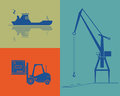 Shipping and cargo industry silhouettes of ship port crane forklift eps opacity Royalty Free Stock Images