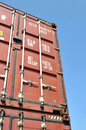 Shipping container a brown metal with a blue sky background Royalty Free Stock Photography